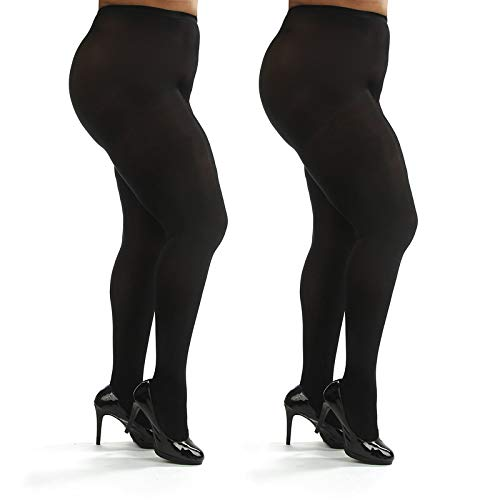 Silky Toes Womens Plus Size Opaque Microfiber Casual Tights- 1 or 2 Pairs