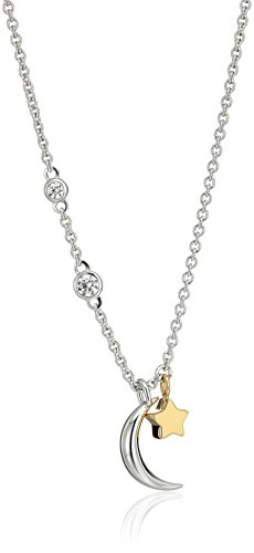 Fossil Sterling Silver Star and Crescent Moon Necklace, Two-tone