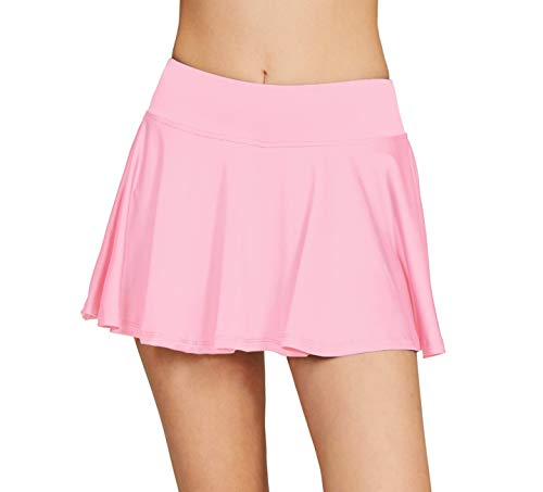 Women's School Running Underneath Skort Lightweight Ladies Club Mini Tennis Skirt with Shorts Light Pink L