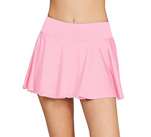 Women's School Running Underneath Skort Lightweight Ladies Club Mini Tennis Skirt with Shorts Light Pink M