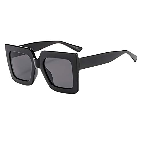 ZOMUSAR Sunglasses,Retro Super Oversized UV Glasses Sunglasses Unisex Flat Square Frame Fashion Wear (Black)
