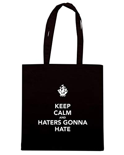 Speed Shirt Borsa Shopper Nera TKC0057 KEEP CALM AND HATERS GONNA HATE