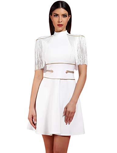 UONBOX Women's Short Sleeves Red and Blue Striped Tassel Fringe Celebrity Dress (L, White)