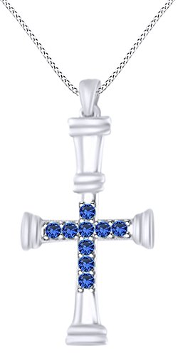 AFFY Round Cut Simulated Blue Sapphire Cross Pendant Necklace in 14K White Gold Over Sterling Silver