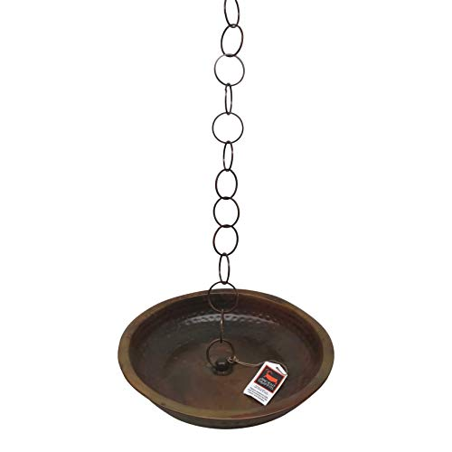 """Ancient Graffiti Flamed Rain Chain Receptacle Basin with 23"""" of Chain"""