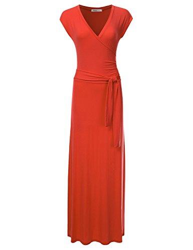 NINEXIS Women's V-Neck Cap Sleeve Waist Wrap Front Maxi Dress ORNAGE M (Tie Sleeve Waist Cap Dress)