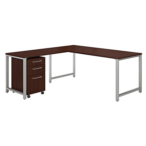 Bush Business Furniture 400 Series 72W x 30D L Shaped Desk with 42W Return and 3 Drawer Mobile File Cabinet in Harvest Cherry by Bush Business Furniture