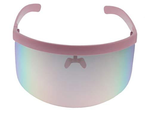 Elite Futuristic Oversize Shield Visor Sunglasses Flat Top Mirrored Mono Lens 172mm Pink ()
