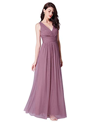 Ever-Pretty Women's Sleeveless Double V Neck A Line Long Bridal Evening Dresses Orchid 8US ()