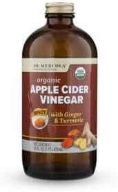 Dr Mercola, Pure Power Organic Keto Cider - Spicy, Apple Cider Vinegar with Ginger & Turmeric, 16 FL oz (1 PT.), 31 Servings, Non GMO, Soy-Free, Gluten Free, USDA Organic