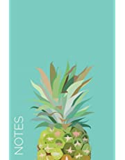 Notes (6x9 Journal): Lined Writing Notebook, 120 Pages – Cute Pink, Yellow, Green Watercolor Pineapple on Pretty Teal Blue Background