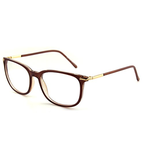 Happy Store CN79 High Fashion Metal Temple Horn Rimmed Clear Lens Eye Glasses,Brown