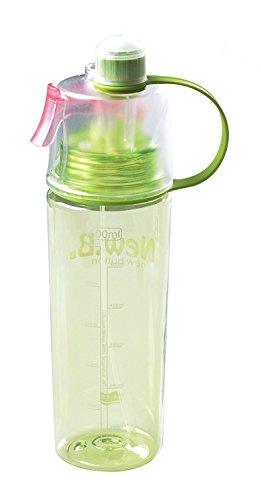 Portable 600ML Spray Drinking Water Bottle with Straw, BPA Free, Leak Proof, for Bodybuilding, Travel, Sports and Outdoors, Green