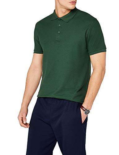 Fruit of the Loom Premium Mens Short Sleeve Polo Shirt (S) (Bottle Green)