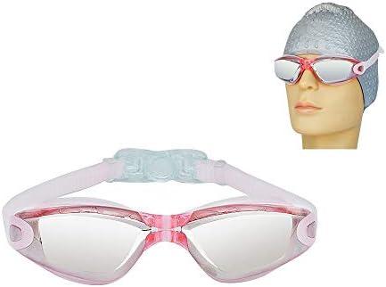 女性男性青少年のためのUVプロテクションのミラークリアレンズとアンチフォグ屋内屋外スイムゴーグルを漏れ水泳用ゴーグル、ノー,ピンク