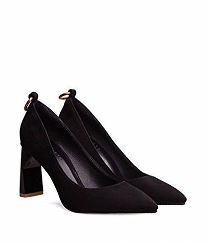 Heels Shallow Shoes Buckle Mouth Metal Suede Stiletto Black Heel Pumps Kitten coollight Women's Pointed 18xqw0CF