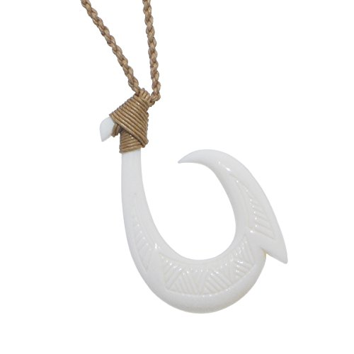 Hei Matau Fishhook Bone Rope Necklace - Textured Single Barb