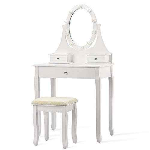 - USA_BEST_SELLER 3 Drawers Lighted Mirror Vanity Makeup Dressing Table Stool Set with Rotating Mirror Beautiful and Traditional Style