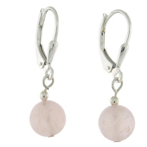 Rose Quartz Bead Earrings (Sterlig Silver 8mm Gemstone Bead Dangle Lever Back Earrings, Rose Quartz)