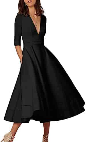 867f9934563 Lalagen Womens Vintage 3 4 Sleeve V Neck Flare Plus Size Cocktail Party  Midi Dress
