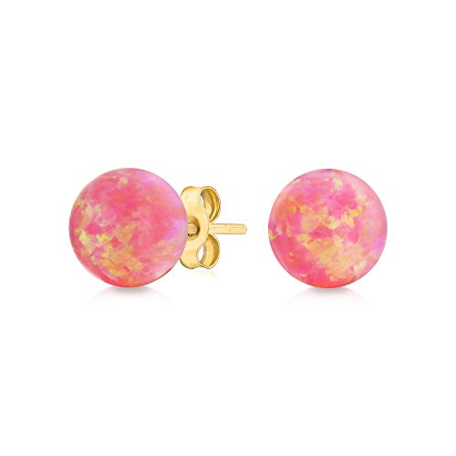Iridescent Gemstone Pink Tourmaline Round Ball Stud Earrings For Women Real 14K Yellow Gold 6MM October Birthstone ()