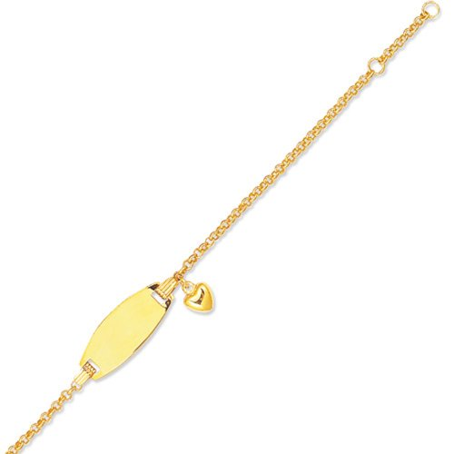 JewelStop 14K Yellow Gold 7.9 mm Rolo Chain Engravable Child Baby ID Heart Bracelet - 6'' by JewelStop