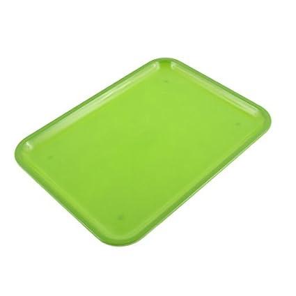 DealMux plástico retângulo Comidas Bebidas Bandeja 10 polegadas Comprimento Verde