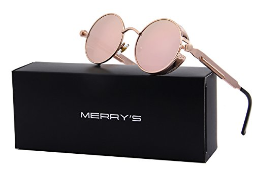MERRY'S Gothic Steampunk Sunglasses for Women Men Round Lens Metal Frame S567(Pink Mirror, (Steampunk For Men)