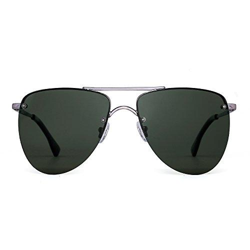 Polarized Rimless Aviator Sunglasses Flat Mirrored Lenses Spring Hinge Men Women (Gunmetal / Polarized - Flat Rimless Sunglasses