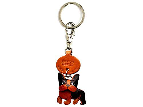 Boston Terrier Leather Dog Small Keychain VANCA Craft-Collectible Keyring Charm Pendant Made in Japan