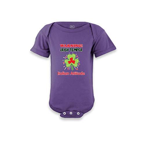 (Warning Irish Temper - Italian Attitude Short Sleeve Envelope Neck Boys-Girls Cotton Baby Bodysuit One Piece - Purple,)