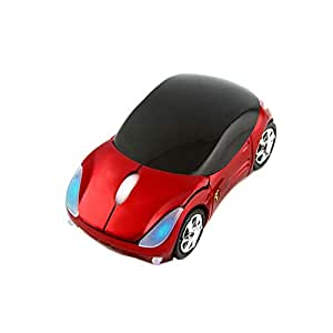 CHUYI Ultra Small Cool Sports 3D Car Shaped Wireless Optical Mouse Mini Cordless Portable Gaming Mice for Business Travel Office Home School Gift (Red)