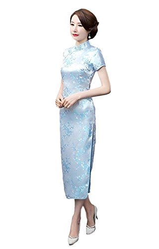 Maritchi Women's Long Chinese Wedding Dress Cheongsam Qipao Retro Long Flower Printing Elegance Beauty (4(ChineseM), Light ()