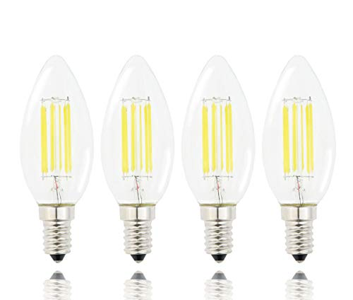 Lamsky E14 LED Filament Candle Shape Light Bulb,E14 European Base Bulb,Daylight 6000K 600LM 60W Equivalent,C35 Clear Glass Torpedo Shape Bullet Top,No-Dimmable (4-Pack)