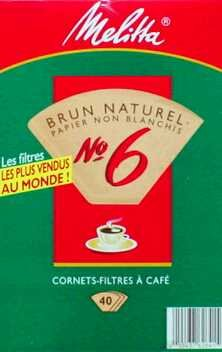 Melitta 626412 #6 Natural Brown Cone Coffee Filters 40 Count