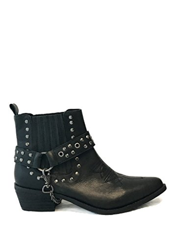Y.R.U. LASO Womens Black Leather Studded Combat Biker Boots