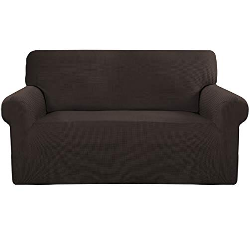 Easy-Going Stretch Sofa Slipcover Sofa Cover Furniture Protector Sofa Shield Couch Soft with Elastic Bottom Anti-Slip Foam Kids,Polyester Spandex Jacquard Fabric Small Checks(loveseat,Chocolate)