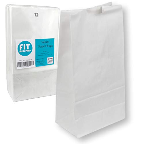 - [150 Pack] Heavy Duty White Paper Bags 13 x 7 x 4.5