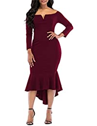 Womens Off The Shoulder High Low Bodycon Mermaid Evening Party Midi Dress