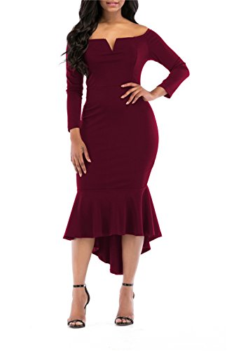 onlypuff Bodycon Dresses for Women Solid Color V NCK Wine Red Off Shoulder Dresses XL