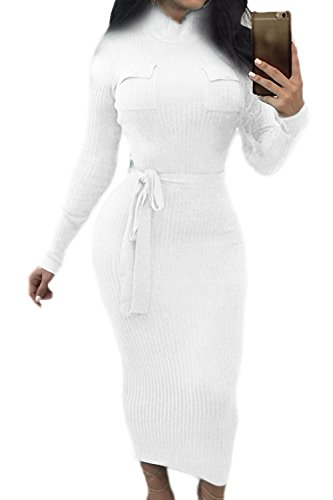 La Mujer De Manga Larga Con Cuello Alto Invierno Vestido Bodycon Crucería White