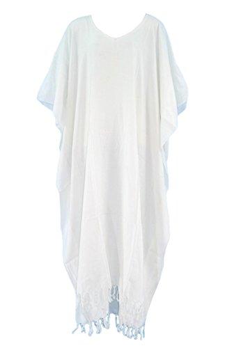Beautybatik White Caftan Kaftan Loungewear Maxi Long Dress 2X