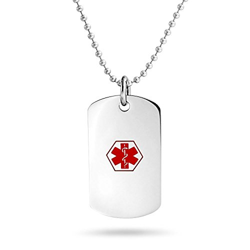 Bling Jewelry Diabetic Medical Alert ID Dog Tag Pendant Stainless Steel Necklace 19 Inches