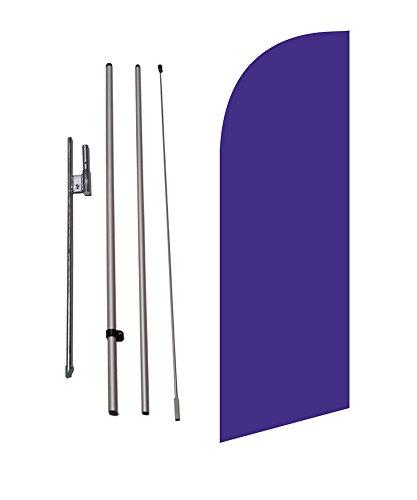 8ft Solid Violet Color Medium Size Feather Banner Swooper Flag Kit w/Ground Spike