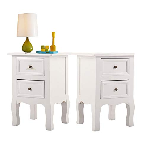 LAZYMOON 2-Drawer Wooden End Side Table White Bedside Cabinet Storage Nightstand,Set of 2