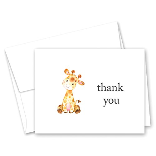 - 50 cnt Pink Giraffe Baby Shower Thank You and Envelopes
