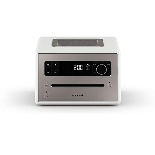 sonoro QUBO CD-speler met USB, radio en Bluetooth (FM, DAB Plus, MP3, alarm, dimbaar display) Wit