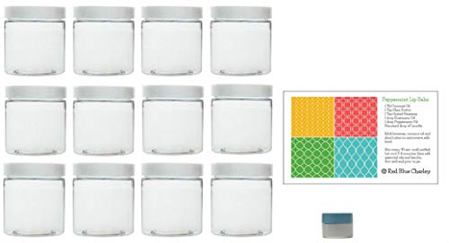 Clear 2 oz Plastic Jars with White Lids (12 pk) with Mini Jar - PET Round Refillable Containers