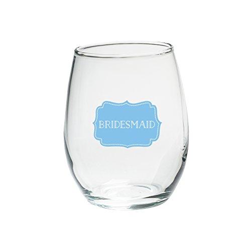 Kate Aspen Bridesmaids Something Blue Stemless Wine Glass (Set of 4), 15 oz