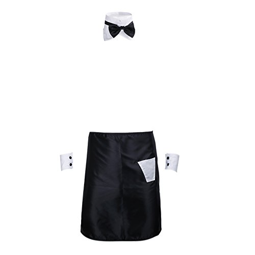 - YiZYiF Men's Sexy Butler Apron With Bow Tie Collar Cuffs Cosplay Party Costume Set